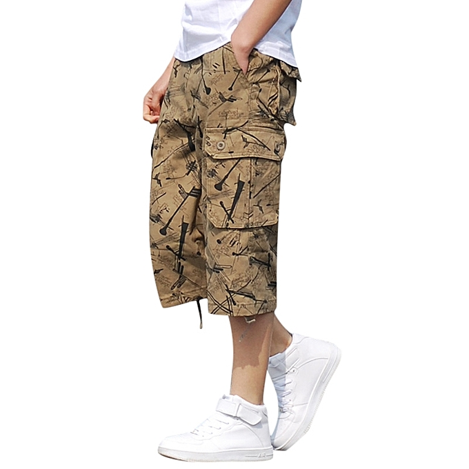 bc3e8b4f35a Men Summer Loose Cotton Outdoor Mid Rise Large Size Multi Pockets Casual  Calf Length Pants