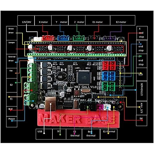 mks gen l  Generic MKS-GEN L V1.0 Integrated Controller Mainboard + 5pcs A4988 ...