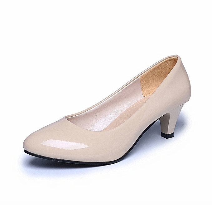 e3a5d048f910 Nude Shallow Mouth Women Office Work Heels Shoes Elegant Ladies Low Heel  BG 35 -