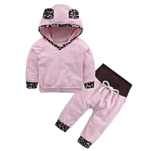 Comfortable  Baby  Cotton Pink  Leopard Print Two Pieces Of Suit Lovely And Soft
