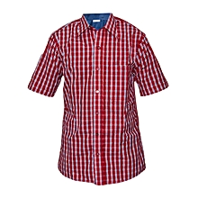 Red blue and White checked Slim fit Collier Shirt