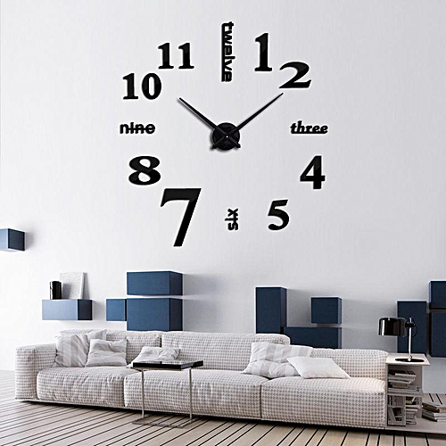 generic diy modern analog 3d mirror surface large number wall clock