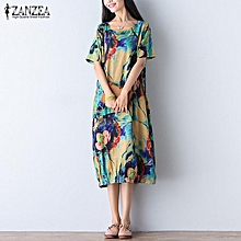ZANZEA Women Short Sleeve Round Neck Loose Floral Long Maxi Dress Kaftan Caftan