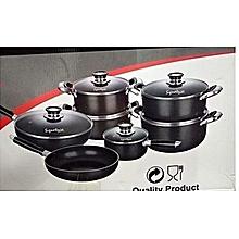 13 Piece Cookware Set (Cooking Pots & Pans) - Black