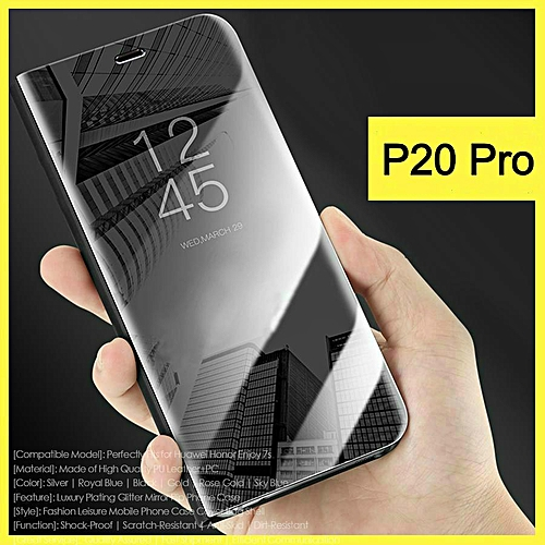 outlet store 0bd72 7bf61 For Huawei P20 Pro Flip Cover Luxury Plating Smart Case Clear View Mirror  Transparent Casing For Huawei P20 Pro Case Housing (Black)