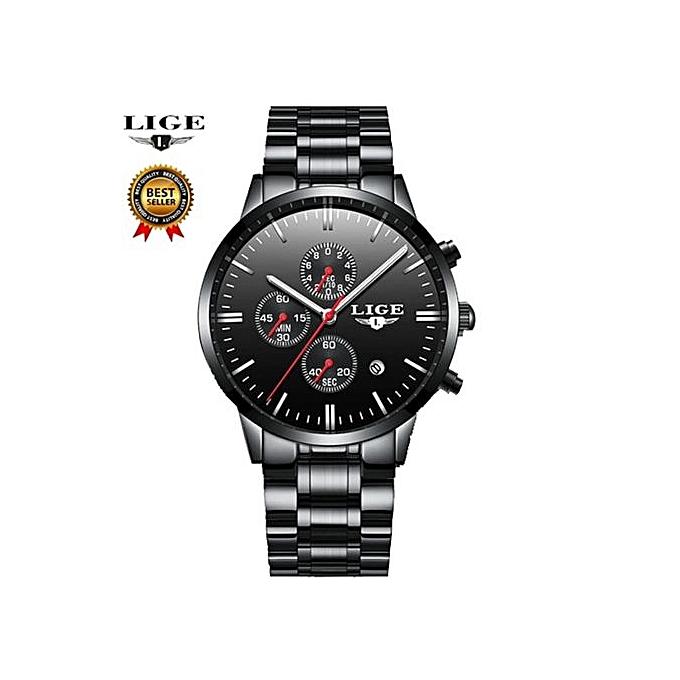 f25ef064f LIGE Fashion Male Wrist Watch Men Steel Band Quartz Hand Watch Casual  Chronograph Gentalman Clock Relogio