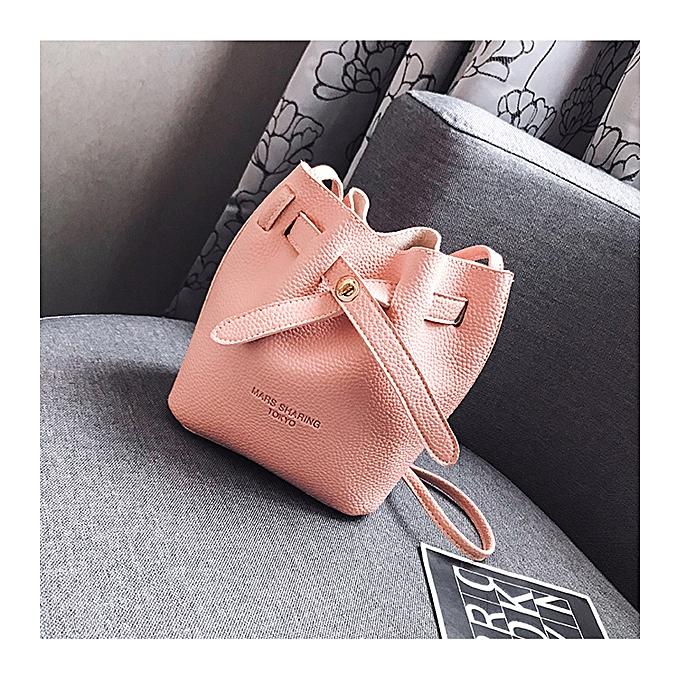 9382b366a3b Women Faux Leather Fashion Casual Bucket Bag Shoulder Bag Lock Buckle  Crossbody Bag