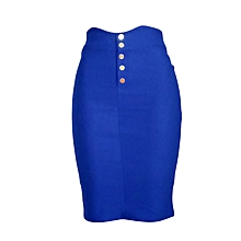 Blue pencil skirt with front buttons