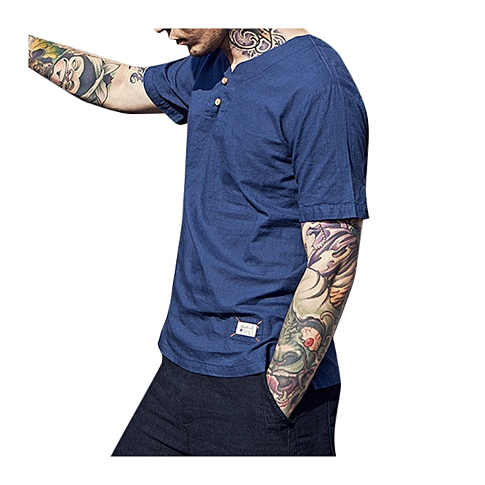 f7e0491c127a Chinese Style Cotton Linen LeisureT-shirt Spring Summer Men's Pure Color Short  Sleeves T-