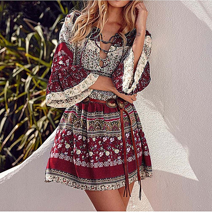 bd7ee801c4ea jiuhap store Women Floral Print Three Quarter Sleeve Boho Dress Ladies  Evening Party Dress -Red