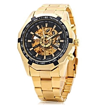 Men Automatic Mechanical Watch Steel Strap - Black And Golden