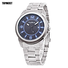 Men Watch Date Display+Water Resistance Wristwatch-SILVER AND BLUE