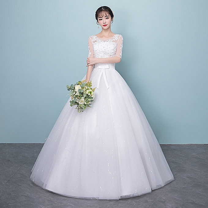 Buy Fashion Illusion Neck Lace Wedding Dresses White At Best Price
