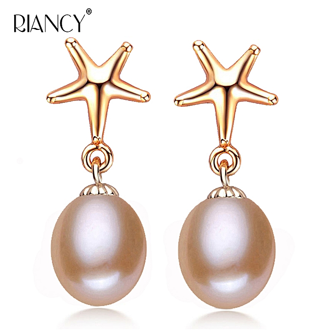 d60fc6b9e1ae6 Fashion starfish earring Natural black Pearl Earrings 925 Sterling Silver  jewelry Freshwater Pearl Stud Earring Send Girlfriend(Rose gold-pink)