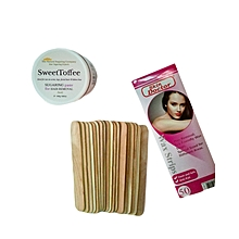 SweetToffee Sugaring Paste + Skin Doctor Epilating Strips + Wooden Tongue Depressors (Spatula)