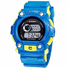 Sports Electronic Young People's Favorite Digital Watch Swimming Water-proof(Blue)
