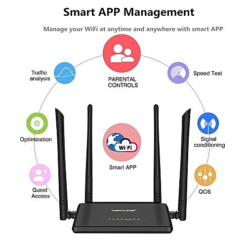 WiFi Router N300 Signal Booster Amplifier With APP Management And 4x5dBi Antenn US PLUS