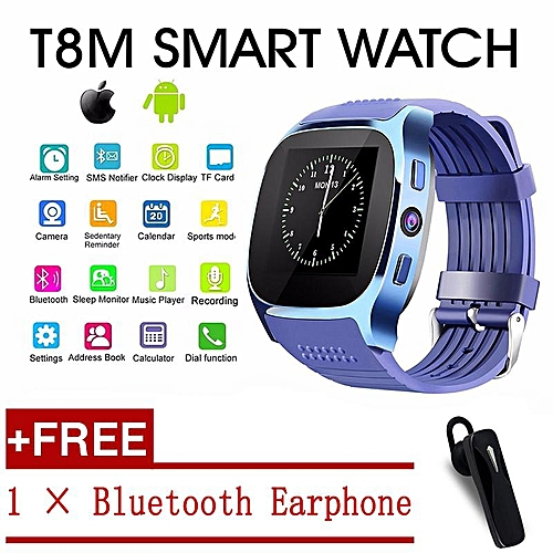 T8 Bluetooth Smart Watch With CamMusic Player Facebook Whatsapp Sync SMS  Smartwatch Support SIM TF Card For Android IOS (Blue) TXSHOP