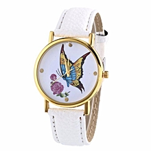 guoaivo Women Butterfly Casual Leather Strap Quartz Wrist Watch WH -White