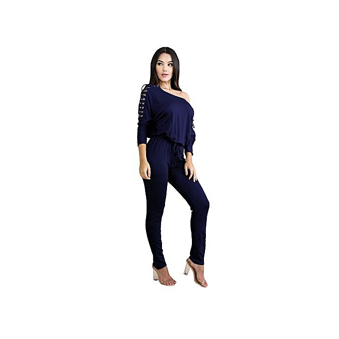 a76f5c406a56 ... Hiaojbk Store Womens Sexy Overalls Long Sleeve Casual Rompers Summer  Off Shoulder Jumpsuit-Royal Blue ...