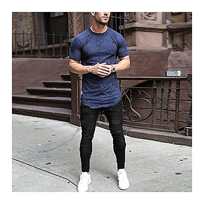 d6c5a4454c0 Hot Men s skinny jeans washed men s tight knee hole pants thin jeans for men -black