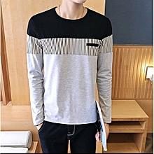 New Men's Long Sleeved T-shirt Striped Shirt-gray
