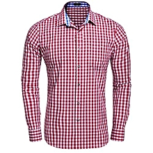 Men Long Sleeve Plaid Button Down Casual Shirts ( Red )