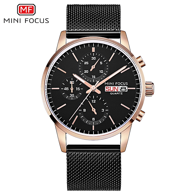 d6138aaa223e80 MF0180G Men Watch Quartz Stainless Steel Strap Simple Wristwatch Time  Display Calendar Fashion Casual 3ATM Waterproof