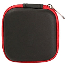 Mini Colorful Square Case Bag Holder Storage Box For In-ear Headphones Headset Red  PU Material