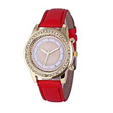 Olivaren Women's Geneva Fashion Leather Analog Stainless Steel Quartz Wrist Watch RDRed