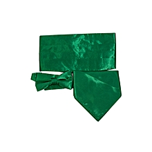 Green Forest Men's Cummerbund Set-Satin Bow Tie+Handkerchief+Cumerbund For Wedding Set