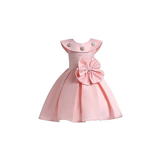 Summer Infant Baby Girls Mesh Formal Sleeveless Birthday Party Princess Dress Pink