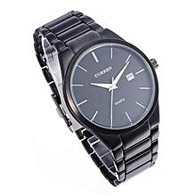 CURREN 8106 Men's Black Stainless Steel Round Quartz Wrist Watch
