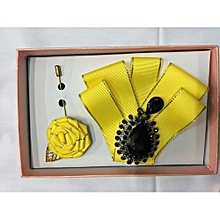 Men's Butterfly Bow Tie with Lapel Flower - Yellow