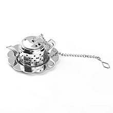 Stainless Steel Teapot Tea Infuser Spice Drink Strainer Herbal Filter+Tray