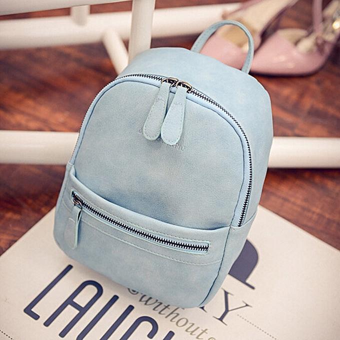 Africanmall store Women Girl Rucksack Shoulder Bookbags School Bag Satchel  Travel Leather Backpack-Blue 908776935f