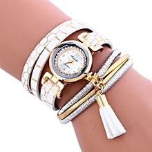Lady  Leather Wrist Watch Fulaida Stylish Simplicity Pendant Leather Bracelet Lady Womans Wrist Watch WH-White