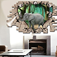 3D Elephant Forest Livingroom Bedroom Animals Floor Home Background Wall Decor Creative Stickers