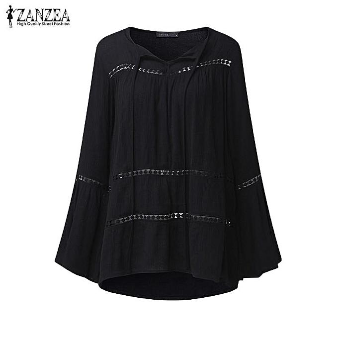 5ee5c4a3708 ... ZANZEA Women Bell Sleeve Flouncing Crochet Blouse Shirt Casual Solid Tops  Plus Size (Black) ...