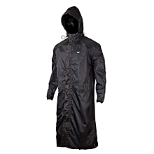 Black Waterproof  Hooded Rain Coat