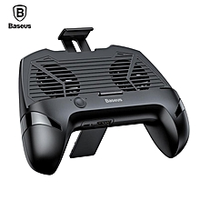 Baseus 3 in 1 Gamepad Multi-Function Universal Game for Phone Radiator Mobile Phone Cooling Fan Holder Stand Game Controller (black) LJMALL