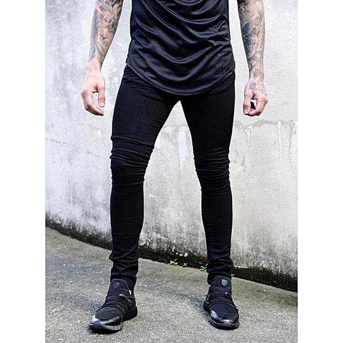 Buy Generic New Men S Skinny Jeans Solid Color Elastic Zipper Men S