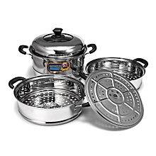 CONCORD Stainless Steel 3 Tier Steamer Steam Pot Cookware Avail in 3 Sizes [34cm]