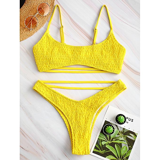 6df0d679abc35d ZAFUL Shirred Strappy Bralette Bikini Set