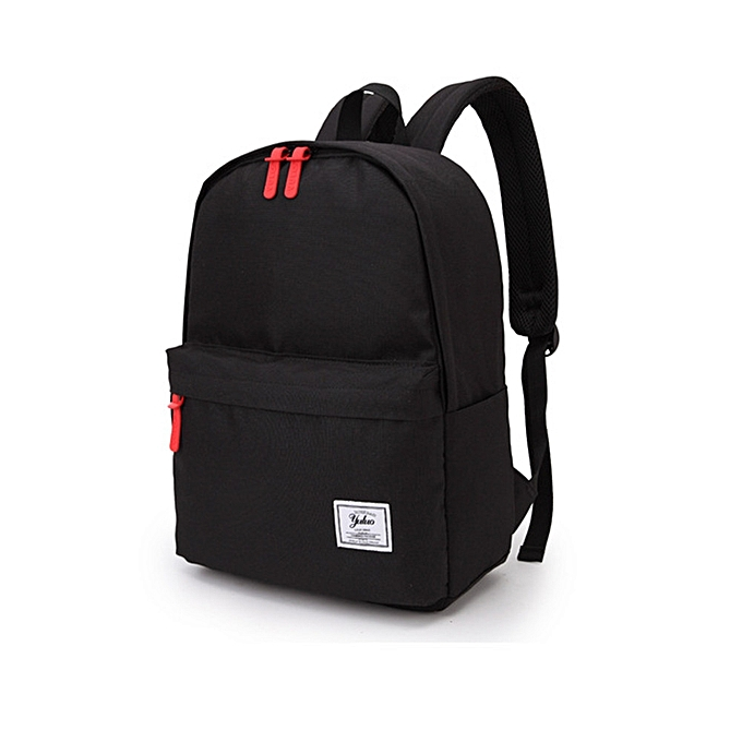 Campus Wind Backpack Solid Color College High School Student Bag Travel  Backpack-Black d4f9f0fd4c01