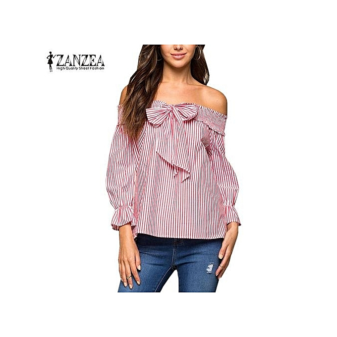 95fdb621a563f ZANZEA Newest Off The Shoulder Tops Summer Women s Slash Neck With Bow  Vertical Striped Crop Blouse