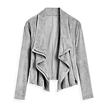 Faux Suede Zip Up Cropped Jacket - GRAY