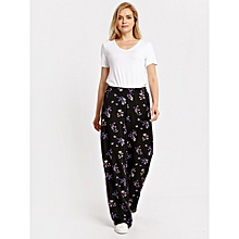 Black Floral Fashionable Standard Trousers