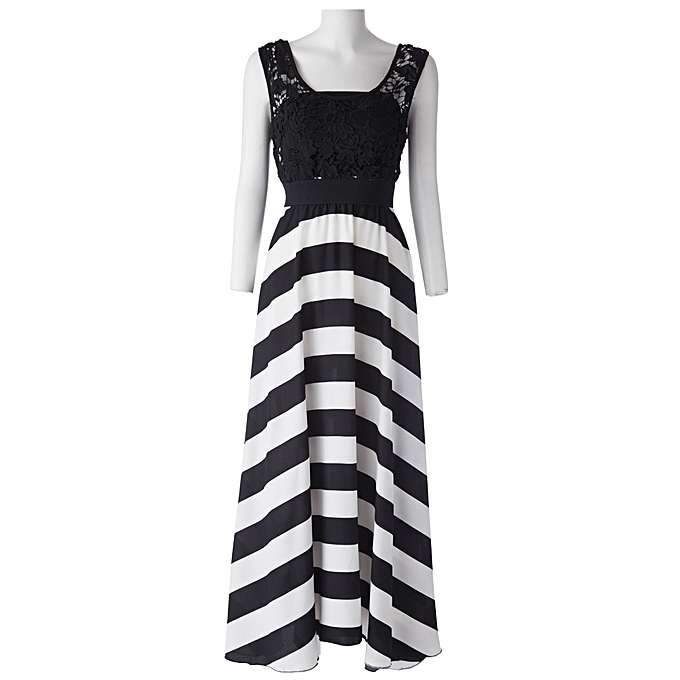 bc60eb6d795d Fashion A Line Striped Lace Panel Maxi Flowy Prom Dress @ Best Price ...
