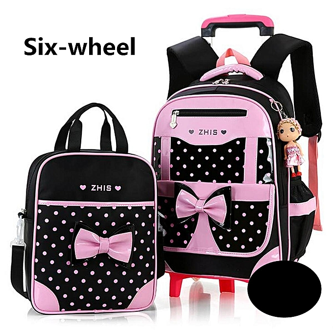 7d5fb8ae559f 2Pcs Kids With 6 Wheels Trolley Backpack Girls Children School Bag  Removable 6 wheel Set of
